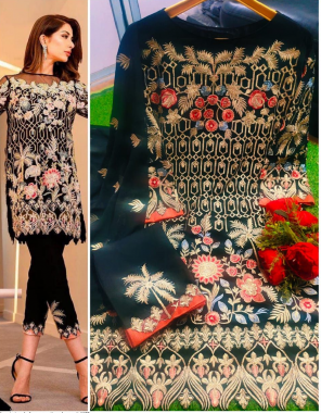black top - georgette   bottom-cotton   dupatta - nazmin fabric embroidery work ethnic