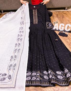 black rayon with cotton dupatta fabric block foil print work wedding