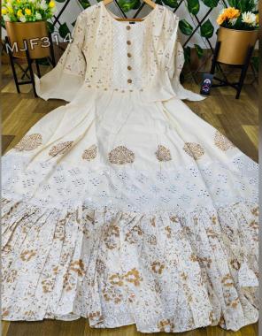 cream pure cotton frill fabric mirror + printed work ethnic