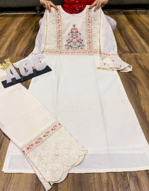 white  cotton fabric embroidery work ethnic