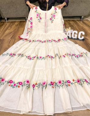white  cotton fabric handwork embroidery work wedding