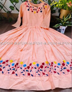 orange pure cotton fabric embroidery work wedding