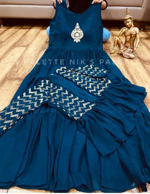 rama blue georgette fabric zari embroidery work ethnic