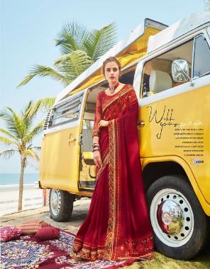 marron vichitra silk fabric embroidery + fancy work wedding