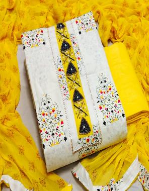 yellow top 2.25m - pure cotton print   bottom2.50m-pure cotton   dupatta2.25m - nazmeen printed fabric hand work work festive