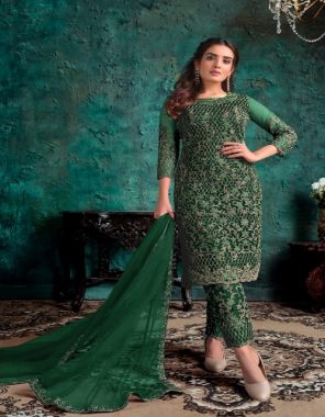 green top - net with work | inner - japan crepe | dupatta -net fabric embroidery  work ethnic