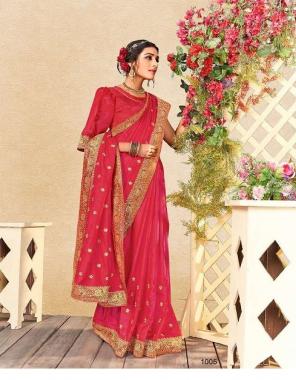 dark pink vichitra silk fabric embroidery  work wedding