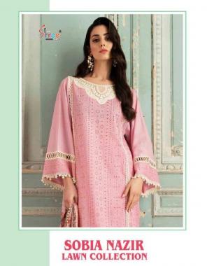 pink top - pure lawn cotton | bottom - semi lawn | dupatta -chiffon digital print fabric fancy work party wear