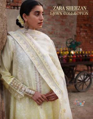 light yellow top -pure lawn | bottom - semi lawn | dupatta - net banarasi jacquard fabric embroidery + fancy work wedding