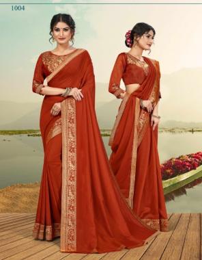 orange vichitra silk fabric embroidery + fancy work wedding