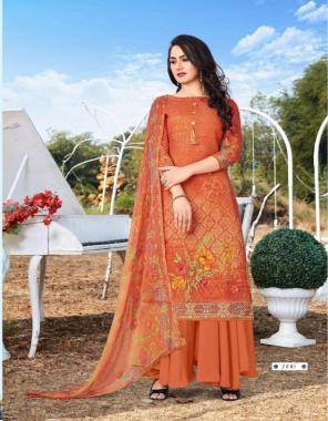 orange top 2.40 m-imported cotton bottom 2.40 m-imported cotton dupatta2.25 m-shiffon  fabric printed work festive