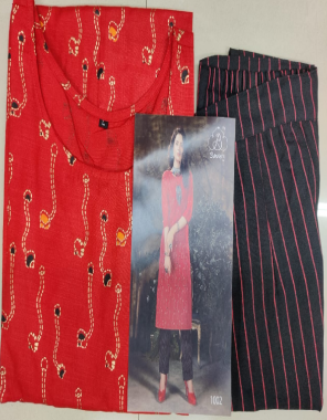 red magic slub fabric foil print work casual