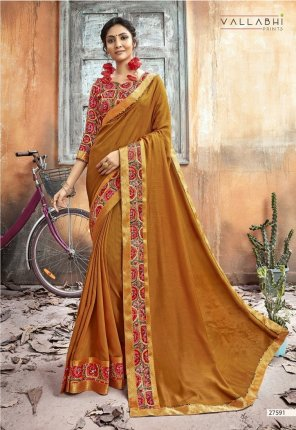 mhendi chanderi silk fabric printed work wedding wear