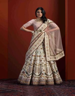 cream lehenga - viscose silk | blouse - rubi silk | dupatta -net fabric digital work wedding
