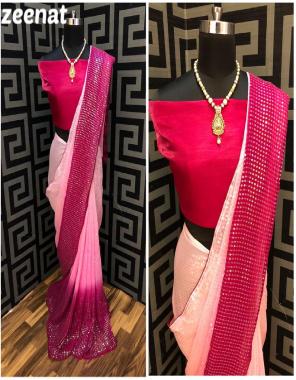 pink saree- rangoli silk | blouse- banglori silk fabric sequence embroidery work wedding
