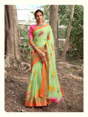 pista linen fabric printed work festive wear