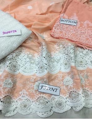 light orange top - soft lawn | bottom - pure lawn | dupatta - soft net fabric embroidery cutwork work wedding