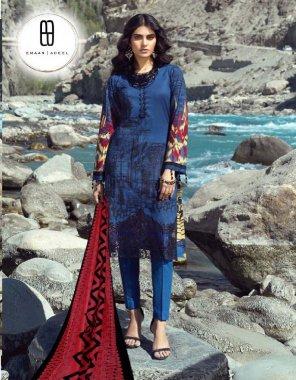 nevi blue  top2.35- pure lawn   bottom 2.00m-pure lawn   dupatta2.25m-pure cotton mal mal  fabric printed work wedding