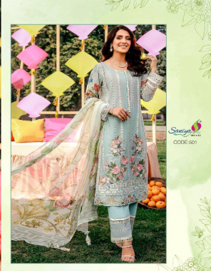 sky blue  top - pure cambric   bottom - pure cotton   dupatta - net chiffon fabric embroidery work running