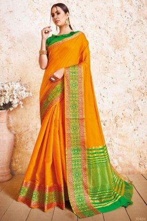 yellow soft silk fabric weaving work festive wear