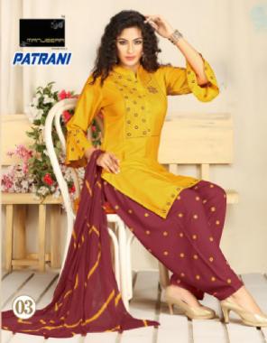 yellow top - rayon with bell sleeves | bottom - rayon patiyala work | dupatta  - nazmin shiburi fabric embroidery work festive