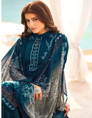blue  top -pure cotton   bottom - pure cotton   dupatta - nazmeen chiffon fabric printed work festive