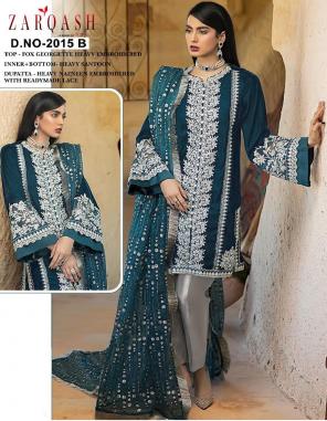 dark rama top - fox georgette | bottom - heavy santoon silk | dupatta - heavy nazmeen fabric embroidered  work festive