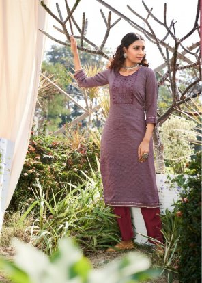 stone vichitra silk fabric printed work casual