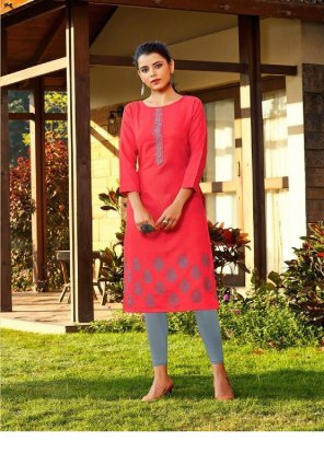 red cotton fabric embroidery work casual