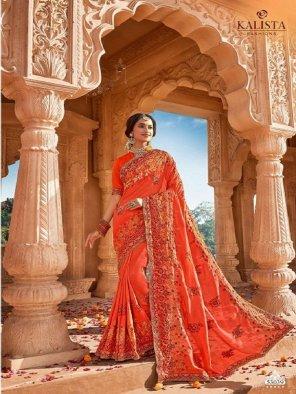orange vichitra silk fabric embroidery work wedding