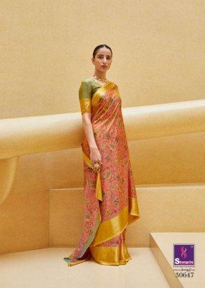 honey yellow with peach soft silk fabric digital print work festival