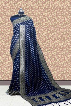 navy blue kanchi silk fabric weaving work festival