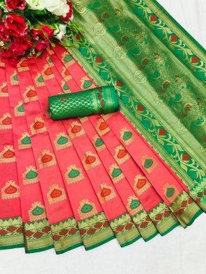 punch pink banarasi silk fabric weaving work wedding