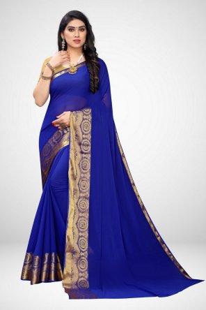 blue chiffon fabric printed work casual