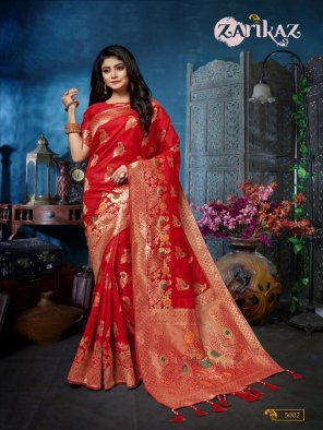 ruby red banarasi silk fabric weaving work festival