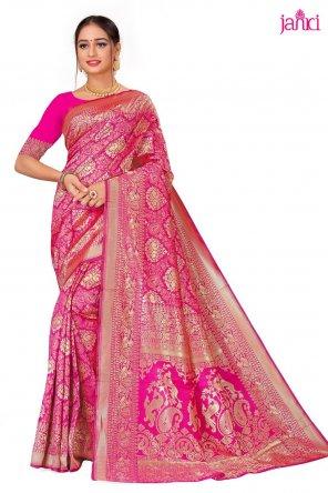 hot pink banarasi silk fabric weaving work wedding