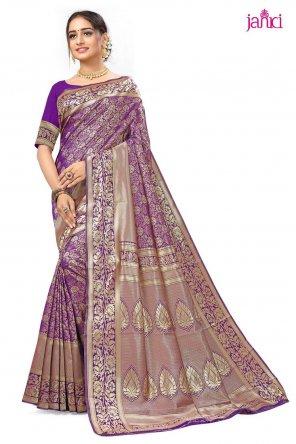 violet banarasi silk fabric weaving work festival