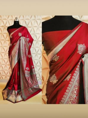 ruby red silk fabric weaving work wedding