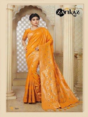fire yellow banarasi silk fabric weaving work wedding