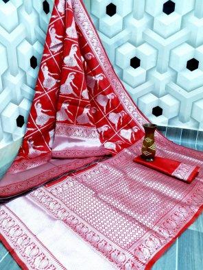 ruby red silk fabric kanjivaram silver zari work festival