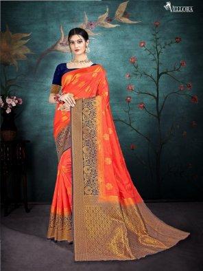 tiger orange silk fabric weaving work wedding