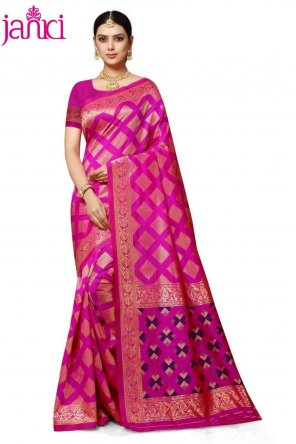 hot pink banarasi silk fabric weaving work wedding