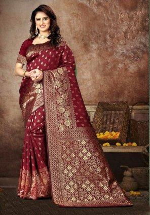 maroon banarasi silk fabric weaving work wedding