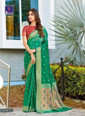 green silk fabric weaving work wedding