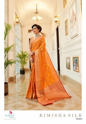 tiger orange silk fabric weaving work wedding
