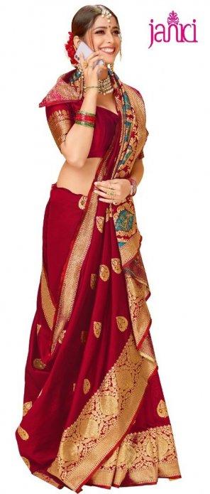 red silk blend fabric weaving work festival