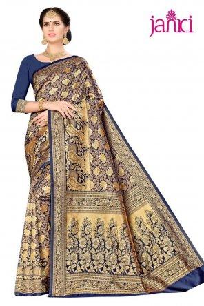 blue silk blend fabric weaving work festival