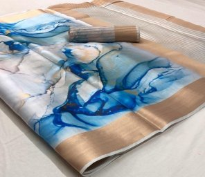 blue satin silk fabric digital print work party