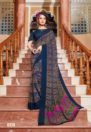 blue georgette fabric printed work casual