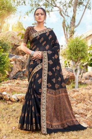 black soft cotton fabric weaving work festival